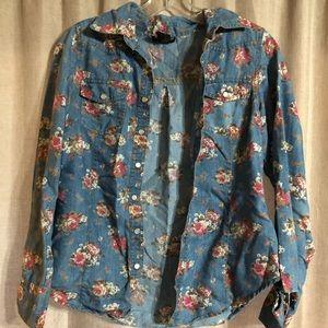 Floral jean button up